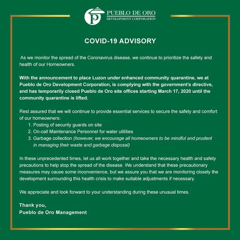 PDO Covid-19 Advisory