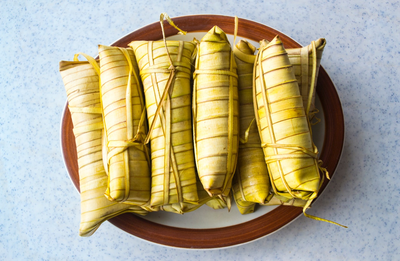 Wrapped suman or Philippine sticky rice dessert