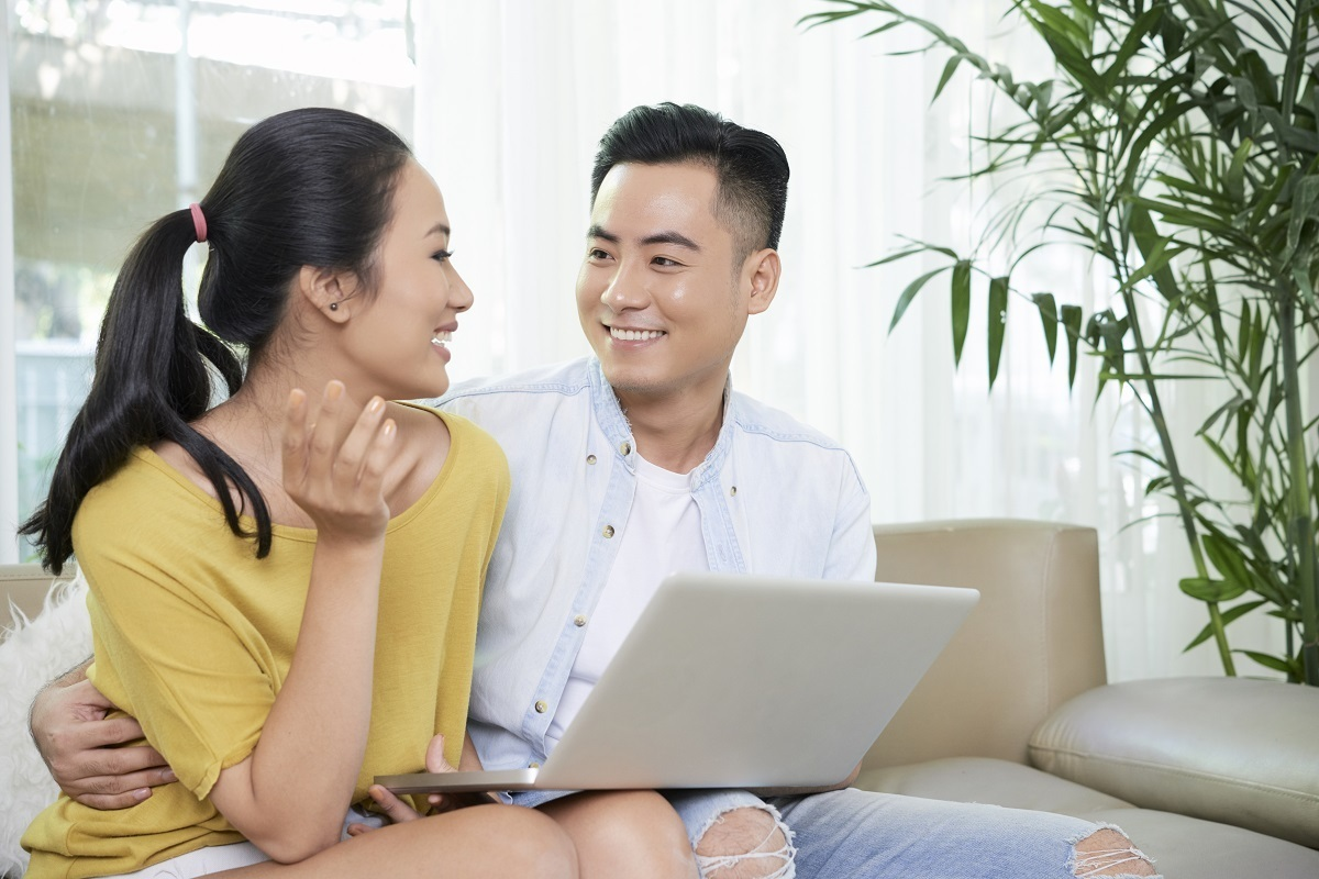 A couple searching for mortgage options